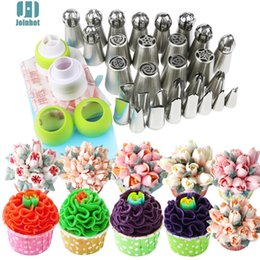 Coupler Icing Bags Australia - Drop Shipping 43pcs  set Russian Nozzles Rose Tips And Cake Cream Decorating Disposable Icing Pastry Bags Three Color Coupler Q190430