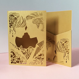 Wedding cards brides groom online shopping - Hollow Laser Cut Wedding Invitation Cards Honey Design Apply To Engagements Benediction Ceremony Bride And Groom Marriage Grand Events