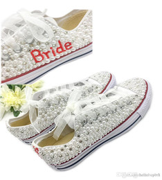 Pink canvas ballet shoes online shopping - Country Style Wedding Shoes Women Handmade Crystals Pearls Sneakers Bridal flat Shoes Canvas plimsoll bridesmaid Sneaker shoes size