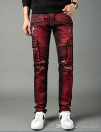 Overalls Motorcycles Australia - foreign trade motorcycle pants red big pockets overalls Europe and America high street punk style Slim jeans trousers