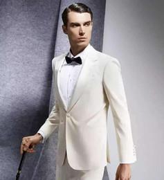 2adb0e262a1 4 Fotos Pantalones de vestir blancos para hombres online-Personalizado  último solo botón de los hombres slim