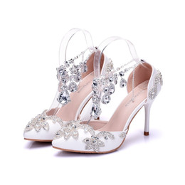 holed shoes Australia - Handsome2019 White Silver Shallow Hole Increase Wrist Bring Full Dress Match Stage Women's Wedding Shoes