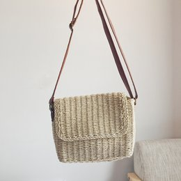 f579119ebb Straw bag new small fresh one-shoulder slung female bag leisure holiday  Korean version of the female wind weave grass