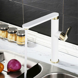 Contemporary White Kitchens NZ - 3 colors choose sink kitchen mixer faucet brass chromed white and black rotation single hole basin faucet mixer tap