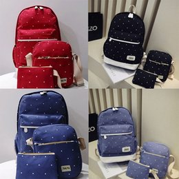 $enCountryForm.capitalKeyWord Australia - Shoulder Bag Three-Piece Set 6 Design Dot One-Piece Backpack Canvas Travel Bags Set Back To School Lady Shoulders Backpack