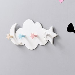 wall mounted clothes hanger rack UK - Plastic Star Cloud Hook Clothes Storage Hanger Rack Self Adhesive Wall Mounted Coat Hook Kid Children Room Decoration