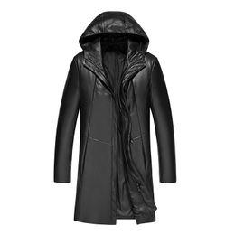 Discount mens leather parkas - Sheepskin Coats Mens Genuine Leather Jackets Winter Parkas Duck Down padded Warm Thick Outwear Overcoat Windbreaker Tops