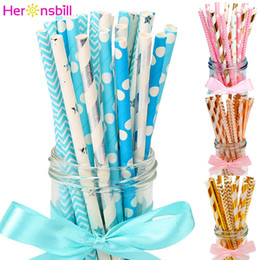 Boy Girl Baby Shower Decorations Australia - Heronsbill 25Pcs Paper Drinking Straws Baby Shower Boy Girl Birthday Wedding Party Decorations Kids Adult Table Supplies Gold