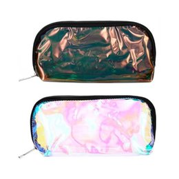 Wholesale Womens Cosmetic Bags Australia - Holographic Transparent PVC Cosmetic Bags Womens Makeup Bag Toiletry Portable Travel Beauty Pouch Hologram Laser Cosmetic Case