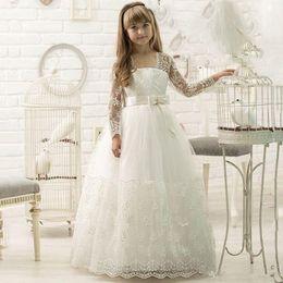 876d8481ad7f2 Princess Long Sleeve Flower Girl Dresses For Summer Boho Weddings A Line  Sheer Neck Applique Sequins With Belt Toddler Kids Communion Wears