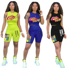 $enCountryForm.capitalKeyWord Australia - Brand Women Two Piece Sets Lips Heat Print Multicolor Sleeveless Vest Top Tees + Short Summer Designer Outfits Casual Sportwear SALE C7810