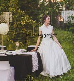 $enCountryForm.capitalKeyWord Australia - Fairy Tale 2 Piece Ball Gown Wedding Dresses 2019 Standard Collar Lace Applique Edge Vintage Princess Country Wedding Gown