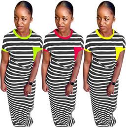 $enCountryForm.capitalKeyWord Australia - Women designer dress skirt plus black and white stripe summer fashion long dress slim bodycon o-neck floor length dress klw1722