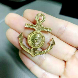 anchor brooch NZ - Retro 14k Gold Boat Anchor Badge Brooch Pins With Double Layers Letters Stamp Brooches Women Men Suit Lapel Pins Accessories