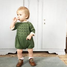 Sweet Baby Clothes Australia - 2018 Ins Hot Cute Sweet Pink Green 100% Cotton Romper Dress Jumpsuit Knitted Sweater For 0-3y Baby Boys Girls Children Clothing Y19050602