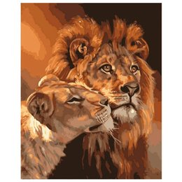 coloring art NZ - Lion Kings DIY Coloring Oil Painting Paint By Numbers Kits Drawing Paint On Canvas For Wall Art Picture For living room (Framele