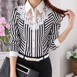 09fe0becd38 2019 Long Sleeve Lace Tops Striped Women Spring Autumn Turn-Down Collar OL  Official Female Blouses
