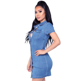 2019 new Summer Denim Shirt Dress Women Elasticity Vintage Tunic single-breasted short sleeve Dresses Party Sexy Clothing Jeans Dress
