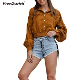 sexy down coats 2019 - Free Ostrich 2019 Sexy Jackets Women Button turn-down Collar Solid Long Sleeve Vintage Jacket Loose Autumn Coat N30 chea
