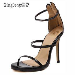 d7b15f162de59a XingDeng Ladies Party Sexy Zip Dress Shoes Big Size 40-43 Women Summer  Cross Strap High Heels Sandals Shoes