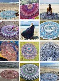 Elephant Print Scarves Australia - Indian Mandala Beach Towel Round Beach Blanket Polyester Elephant Printing Tapestry Yoga Mat Summer Picnic Rug Women Beach Scarf 2019 Sarong