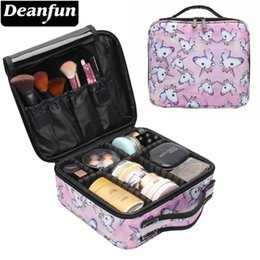 zipper train case Australia - Deanfun Unicorn Makeup Case Multifunctional Cosmetic Bag Travel Organizer Train Cases with Adjustable Dividers 16001 V191114