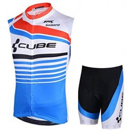 orange blue cube cycling jersey UK - Best Cube Cycling Jersey Set Summer Sleeveless Breathable Bike Clothing Quick -dry Bicycle Sportswear Bike Wear Maillot Ropa Ciclismo Hombre