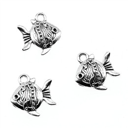 $enCountryForm.capitalKeyWord Australia - 100pcs Charm Tropical Fish Sea Fish Pendant Charms For Jewelry Making Antique Silver Tropical Fish Charms 15x14x4mm