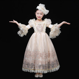 Blue Hair Costumes Australia - 100real children's girls luxury light cream embroidery lace ruffled sleeve baroque stage costume renaissance gown dress with hair decoration