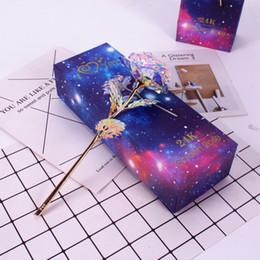 Led roses fLowers online shopping - 24K Gold Rose Foil Flower Eternity Rose Romantic Rainbow Vibrating LED Gold Foil Valentine s Day Mother s Day Gift Party Favor LJJA3542