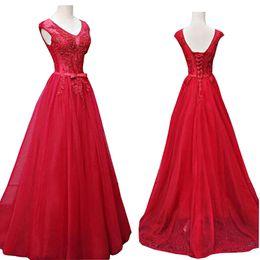 $enCountryForm.capitalKeyWord UK - Women Party dress Red Net A Line Long Prom Dresses 2019 Dress Elegant Vestido de festa Evening Party Gown Backless Dresses For Prom