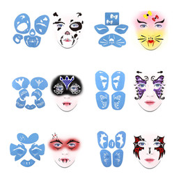 stencil painting designs Australia - 6 Sets Plastic Reusable Face Paint Stencil Body Painting Template, Makeup Accessories For Men Women Stage Party Facial Design Tool