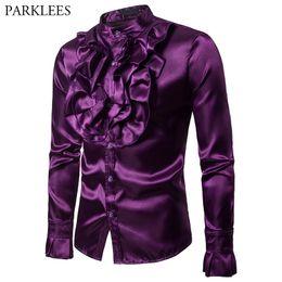 $enCountryForm.capitalKeyWord Australia - Purple Silk Satin Shirt Men Unique Designe Vintage Wedding Tuxedo Shirt Man Long Sleeve Slim Fit Gothic Shirt Male Chemise Homme T2190608