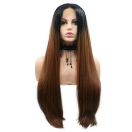 $enCountryForm.capitalKeyWord UK - Free Shipping Natural Hairline Silky Straight Long Synthetic Hair Ombre Black Brown Color 2 Tone Middle Part Lace Front Wigs for Black Women