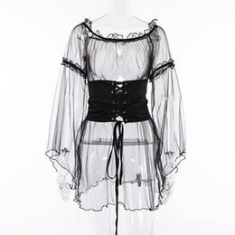 $enCountryForm.capitalKeyWord NZ - Best Selling Black Sexy Hot Erotic Mini Dress Mesh See Through Flare Sleeve Ruffles Open Shoulder Backless Night Club Trendy Clothing