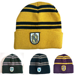 School Beanies UK - Wholesale 4 Colors Harry Potter Cosplay School Striped Badge Hats Gryffindor Beanie Cap Winter Warm Elastic Knitted Hat DH0512 T03