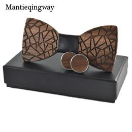 $enCountryForm.capitalKeyWord Australia - Men's Wood Bowtie Cufflinks Set Brand Business Wooden Bow Tie Neckties Cuff Links For Wedding Groom