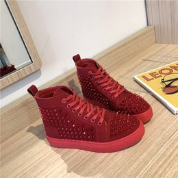 red high top hip hop shoes Australia - Hip-hop Womens Shoes High-Top Net Red Couples Single Shoes Fashion Casual All-match Rivet Student Large Size Board Shoes Men Women