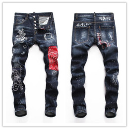$enCountryForm.capitalKeyWord NZ - 19ss Top Quality Designer Brand D2 Men Jeans Embroidery Pants Fashion Holes Trousers Luxury Denim Italy Hot style men d2dsq jeans #0035