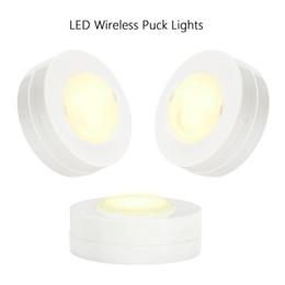 Toptan satış Parlak Yuvarlak Ev Yatak Odası Dolap Işık 6 Paket Kabine Altında LED Puck Dolap Işıkları Uzaktan Kumandalı Yüksek Kalite