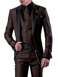 Toptan satış Yeni Klasik Bir Düğme Groomsmen Tepe Yaka Damat Smokin 3 Parça Erkek Takım Elbise Düğün / Balo İyi Adam Blazer (ceket + Pantolon + Yelek + Kravat) 178