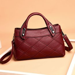 $enCountryForm.capitalKeyWord Australia - Fashion Patchwork Ol Style Women's Genuine Leather Handbags Plaid Tote Bag Ladies Shoulder Bags For Women Messenger Bags J190616