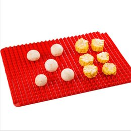 Silicone Microwave Mat Australia - Outdoor Pyramid Pan Nonstick Silicone Baking Barbecue Mat Microwave Oven Bakeware BBQ Baking Mat Red Pyramid Kitchen Tools Tray 39*27cm Hot
