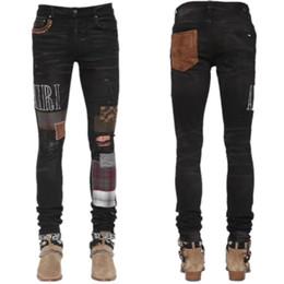 Wholesale jeans patchwork man resale online – designer 2020 High quality Mens jeans Distressed Motorcycle biker jeans Slim Ripped hole stripe Famous Brand Denim pants jeans