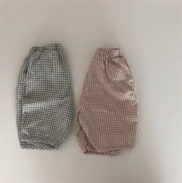girls trouser linen UK - INS Summer Little Girls Boys Pants Great Linen Cotton Plaid Pants Designs Elastic Soft Trousers Spring Children Girls Trousers
