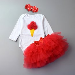red white blue tutus UK - 3Pcs Baby Girl clothing Set Fashion Newborn Infant Tutu Skirt Organic Cotton Cartoon Bodysuits with handband Petticoat Clothes
