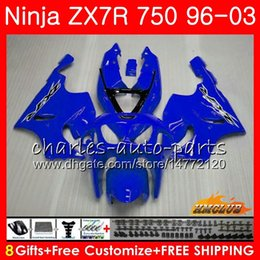 KawasaKi zx7r fairing blacK white online shopping - Body For KAWASAKI NINJA ZX R ZX750 ZX R glossy blue hot HC ZX ZX R ZX ZX7R Fairings