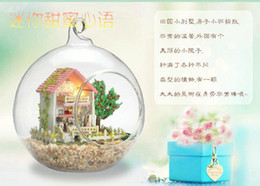 dollhouse glass ball Australia - Wholesale-New Fashion! 2015 Christmas gift hand-made DIY wood doll house,Assembling Model Glass Ball dollhouse toys - Sweet Heart Language