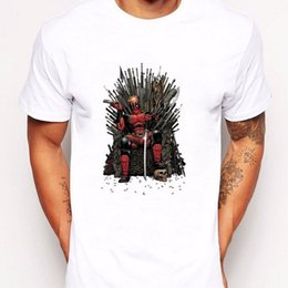 623b73426 Deadpool on the Iron Throne T-Shirt Design Game of thrones Summer Men's  Tops Funny free shipping Tshirt top