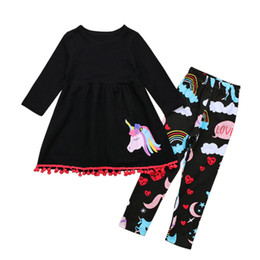 b55dc1d6faf36 Kids Black Trousers UK - Children Spring And Autumn Unicorn Long Sleeve  Dress And Trousers Two